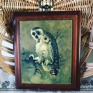Vintage Snowy Owls Wood Plaque